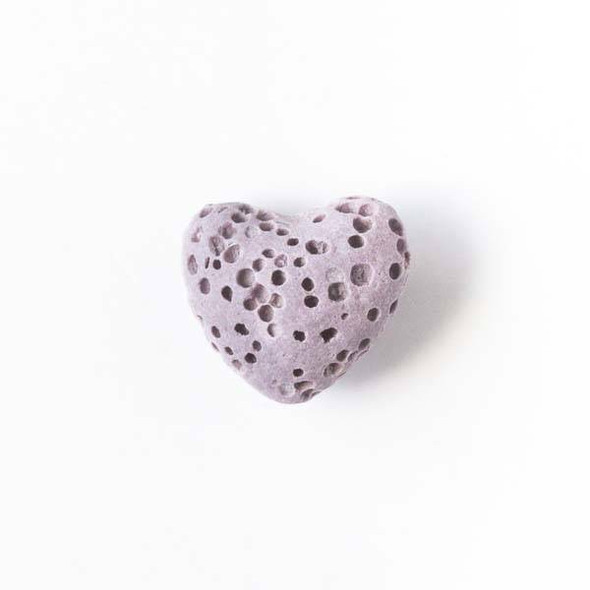 Lava Rock 10x12mm Dusty Purple Heart Essential Oil Diffusers - 3 per bag