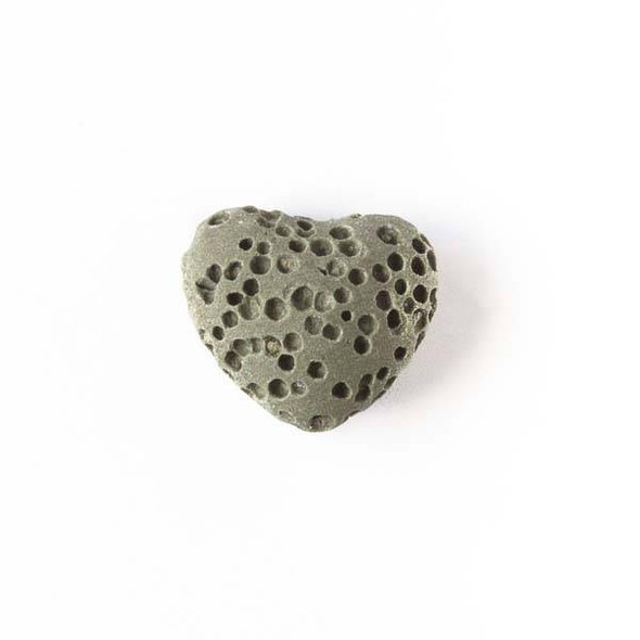Lava Rock 10x12mm Olive Green Heart Essential Oil Diffusers - 3 per bag