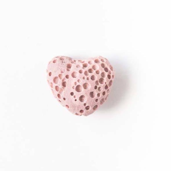 Lava Rock 10x12mm Rose Pink Heart Essential Oil Diffusers - 3 per bag