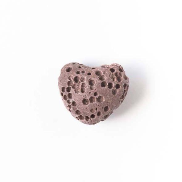 Lava Rock 10x12mm Brown Heart Essential Oil Diffusers - 3 per bag