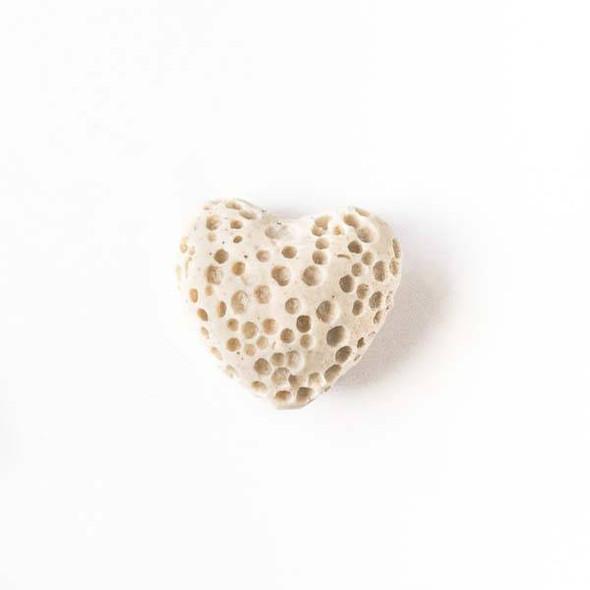 Lava Rock 10x12mm Cream Heart Essential Oil Diffusers - 3 per bag