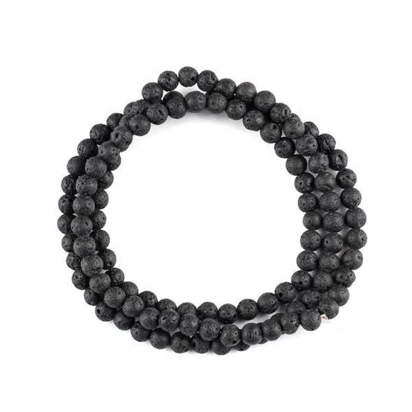Waxed Black Lava 6mm Mala Round Beads - 29 inch strand