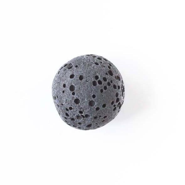 Lava Rock 12mm Dark Grey Round Essential Oil Diffusers - 3 per bag