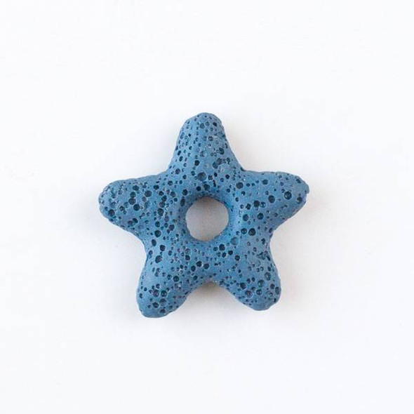 Lava 35mm Wedgewood Blue Starfish Pendant with a Hole in the Center