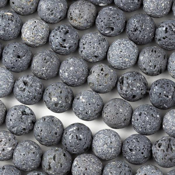 Unwaxed Lava 10mm Black Round Beads - 15.5 inch strand