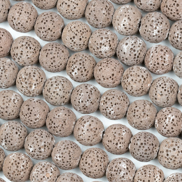 Unwaxed Lava 10mm Brown Round Beads - 15.5 inch strand