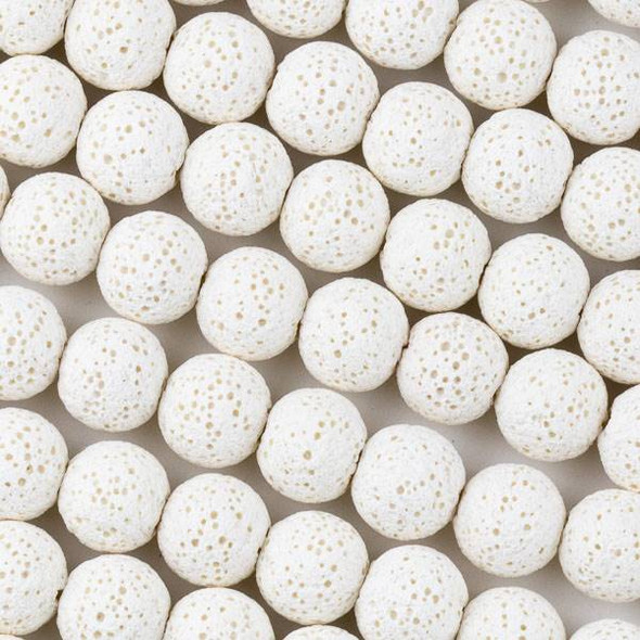 Unwaxed Lava 10mm White Round Beads - 15.5 inch strand