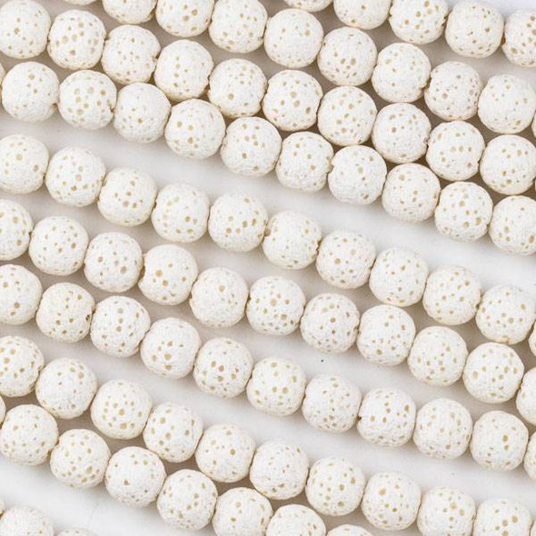 Unwaxed Lava 6mm White Round Beads - 15.5 inch strand