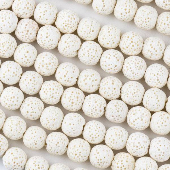 Unwaxed Lava 8mm White Round Beads - 15.5 inch strand