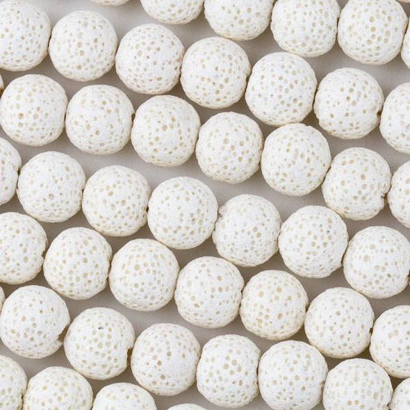 Waxed Lava 10mm White Round Beads - 15 inch strand