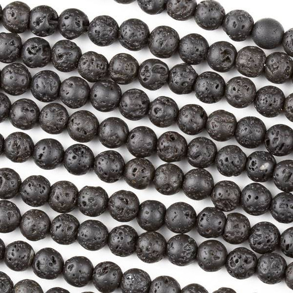 Waxed Lava 6mm Black Round Beads - 15 inch strand