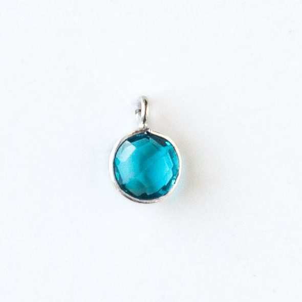 London Blue Quartz 7x10mm Faceted Coin Drop with a Silver Plated Brass Bezel