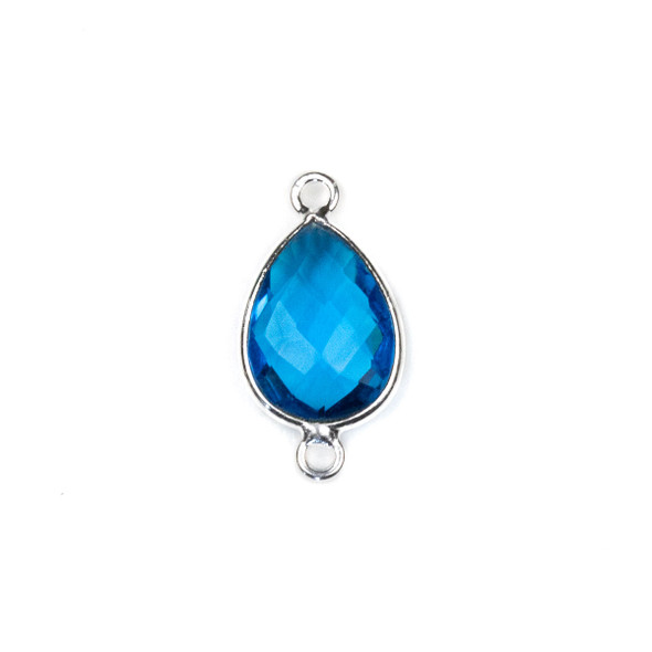 London Blue Quartz approximately 11x22mm Teardrop Link with a Silver Plated Brass Bezel - 1 per bag