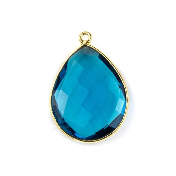 London Blue Quartz approximately 19x27mm Teardrop Drop with a Gold Plated Brass Bezel - 1 per bag