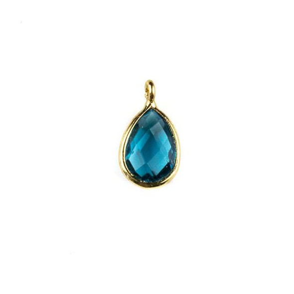 London Blue Quartz approximately 8x14mm Faceted Teardrop Drop with a Gold Plated Brass Bezel - 1 per bag