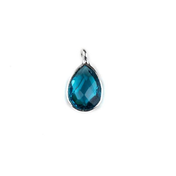 London Blue Quartz approximately 8x14mm Faceted Teardrop Drop with a Silver Plated Brass Bezel - 1 per bag