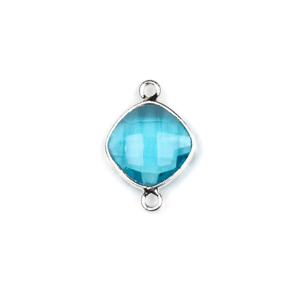 London Blue Quartz approximately 14x21mm Rounded Diamond Link with a Silver Plated Brass Bezel - 1 per bag