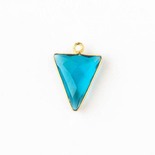 London Blue Quartz 14x19mm Triangle Drop with a Gold Plated Brass Bezel