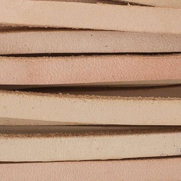 5mm Light Tan Flat Leather Cord - 25 yard bundle