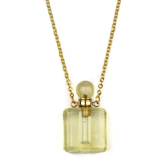 Lemon Quartz 19x34mm Rounded Square Perfume Bottle Necklace with Gold Plated Stainless Steel Chain