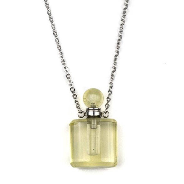 Lemon Quartz 19x34mm Rounded Square Perfume Bottle Necklace with Silver Stainless Steel Chain