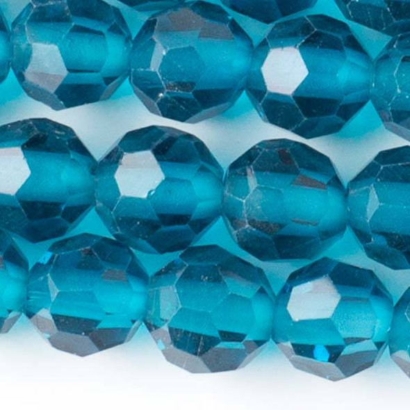 Large Hole Faceted Crystal 10mm Peacock Blue Round Beads with approximately a 2.5mm Drilled Hole - approx. 8 inch strand