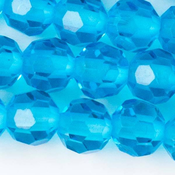 Large Hole Faceted Crystal 10mm Caribbean Blue Rounds with approximately a 2.5mm Drilled Hole - approx. 8 inch strand