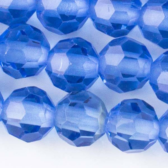 Large Hole Faceted Crystal 10mm Medium Sapphire Blue Rounds with approximately a 2.5mm Drilled Hole - approx. 8 inch strand