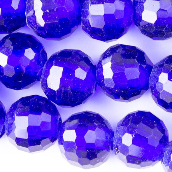 Large Hole Faceted Crystal 10mm Cobalt Blue Rounds with approximately a 2.5mm Drilled Hole - approx. 8 inch strand