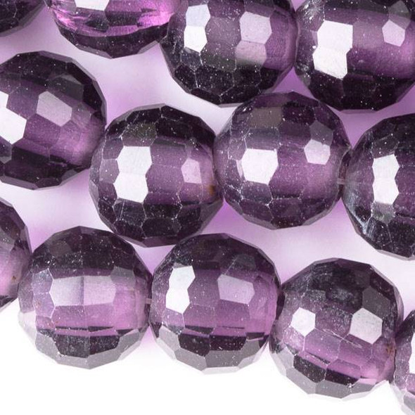 Large Hole Faceted Crystal 10mm Lilac Purple Rounds with approximately a 2.5mm Drilled Hole - approx. 8 inch strand