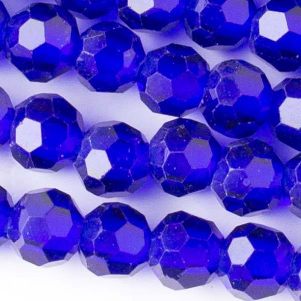 Large Hole Faceted Crystal 8mm Cobalt Blue Round Beads with approximately a 2.5mm Drilled Hole - approx. 8 inch strand