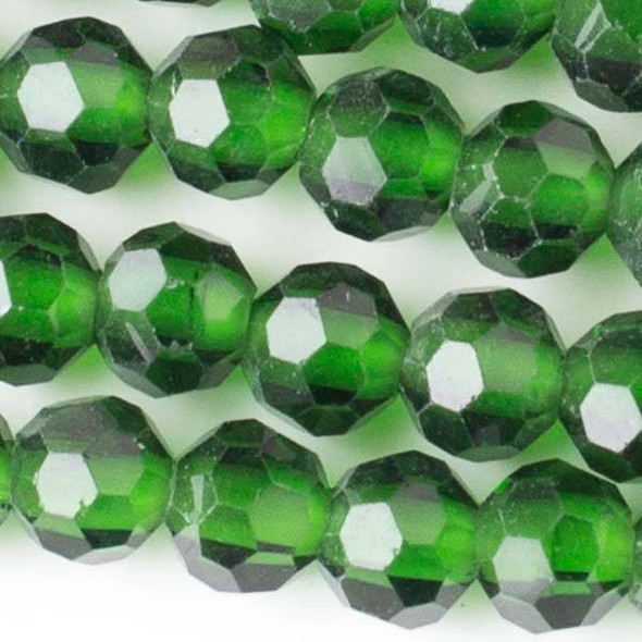 Large Hole Faceted Crystal 8mm Emerald Green Round Beads with approximately a 2.5mm Drilled Hole - approx. 8 inch strand