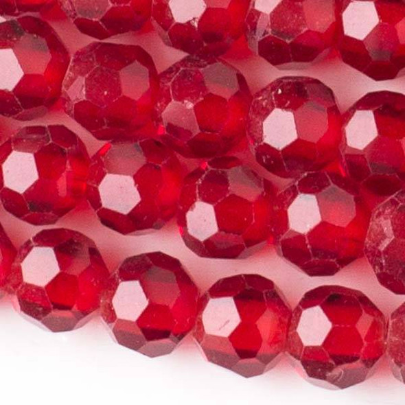 Large Hole Faceted Crystal 8mm Ruby Red Round Beads with approximately a 2.5mm Drilled Hole - approx. 8 inch strand