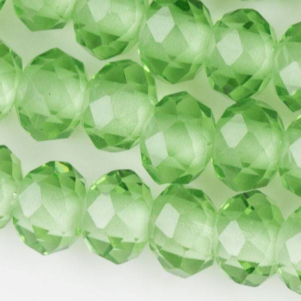 Large Hole Faceted Crystal 6x8mm Chrysolite Green Rondelles with approximately a 2.5mm Drilled Hole - approx. 8 inch strand