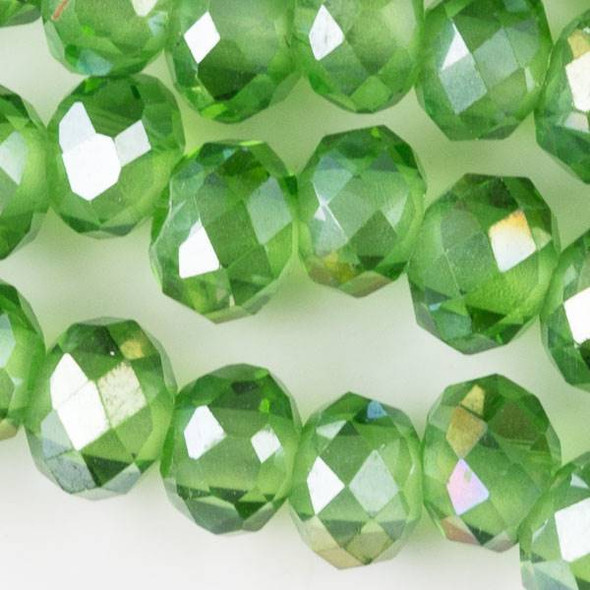 Large Hole Faceted Crystal 6x8mm Chrysolite Green Rondelles with an AB finish and approximately a 2.5mm Drilled Hole - approx. 8 inch strand