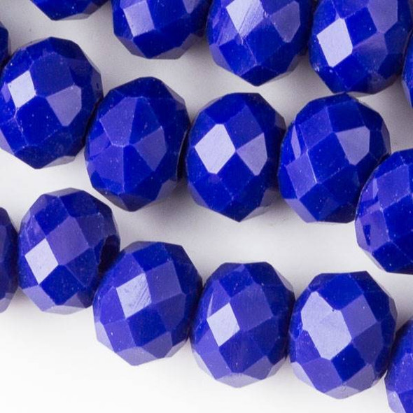 Large Hole Faceted Crystal 6x8mm Opaque Cobalt Blue Rondelles with approximately a 2.5mm Drilled Hole - approx. 8 inch strand