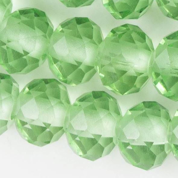 Large Hole Faceted Crystal 8x10mm Chrysolite Green Rondelles with approximately a 2.5mm Drilled Hole - approx. 8 inch strand