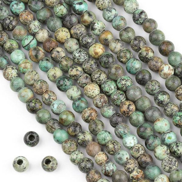 Large Hole African Turquoise 6mm Round Beads with 2.5mm Drilled Hole - approx. 8 inch strand