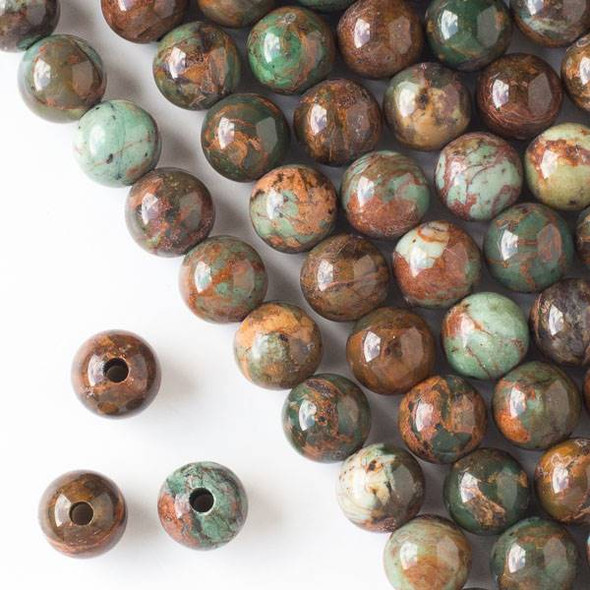 Large Hole African Green Opal 10mm Round Beads with a 2.5mm Drilled Hole - approx. 8 inch strand