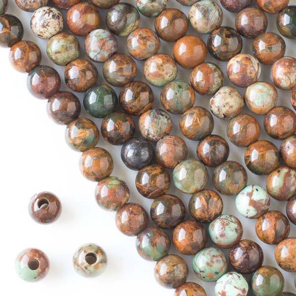 Large Hole African Green Opal 8mm Round Beads with a 2.5mm Drilled Hole - approx. 8 inch strand