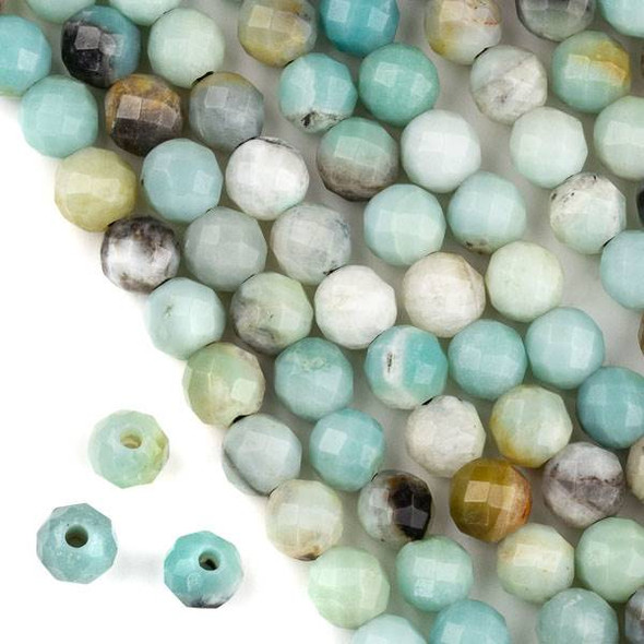 Faceted Large Hole Amazonite 10mm Round with a 2.5mm Drilled Hole - approx. 8 inch strand
