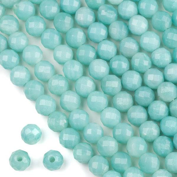 Faceted Large Hole Blue Amazonite 10mm Round with a 2.5mm Drilled Hole - approx. 8 inch strand