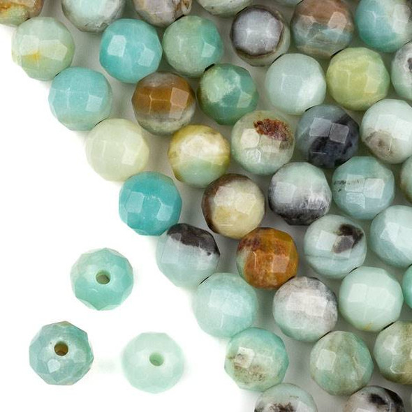 Faceted Large Hole Amazonite 12mm Round with a 2.5mm Drilled Hole - approx. 8 inch strand