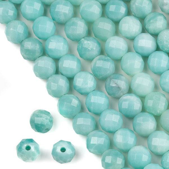 Faceted Large Hole Blue Amazonite 12mm Round with a 2.5mm Drilled Hole - approx. 8 inch strand