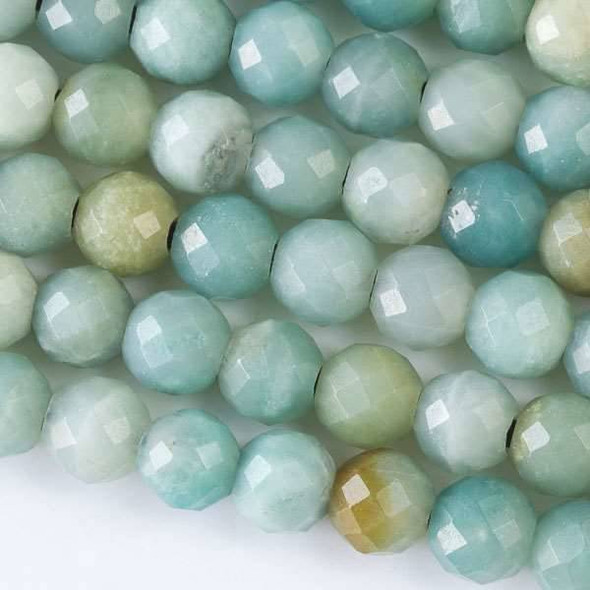Faceted Large Hole Amazonite 8mm Round with a 2.5mm Drilled Hole - approx. 8 inch strand