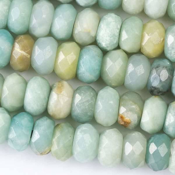 Faceted Large Hole Amazonite 6x10mm Rondelle with a 2.5mm Drilled Hole - approx. 8 inch strand