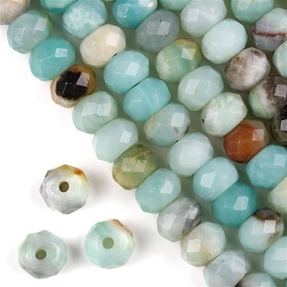 Faceted Large Hole Amazonite 8x12mm Rondelle with a 2.5mm Drilled Hole - approx. 8 inch strand
