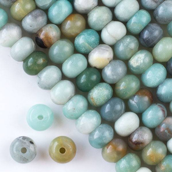 Large Hole Amazonite 8x12mm Rondelle with 2.5mm Drilled Hole - approx. 8 inch strand