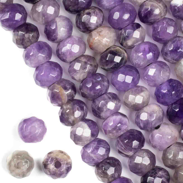 Faceted Large Hole Amethyst 8x12mm Rondelle with a 2.5mm Drilled Hole - approx. 8 inch strand