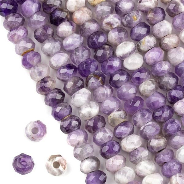 Faceted Large Hole Amethyst 5x8mm Rondelle with a 2.5mm Drilled Hole - approx. 8 inch strand